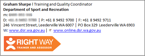 Example of Right Way trainer and assessor email signature